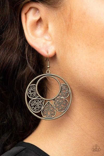 Petal Promenade - Brass Earrings