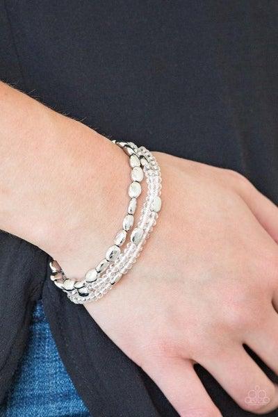 Hello Beautiful - White Stretchy Bracelet