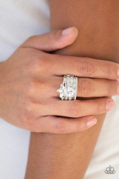 Top Dollar Bling - White Ring