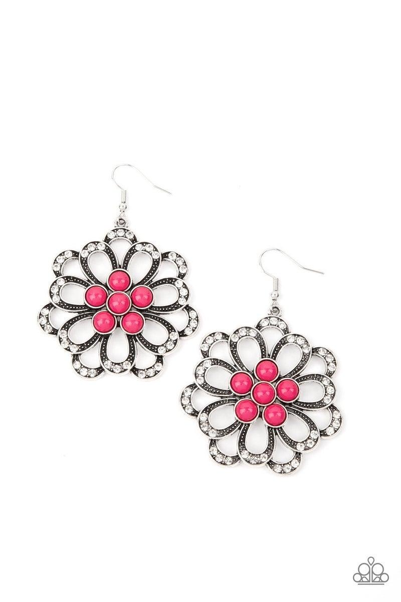 Dazzling Dewdrops - Pink Earrings