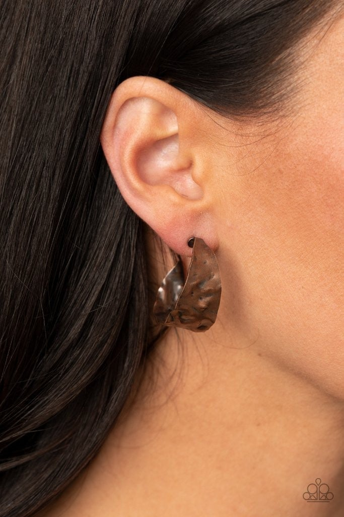 Put Your Best Fact Forward - Copper Hoop Earrings