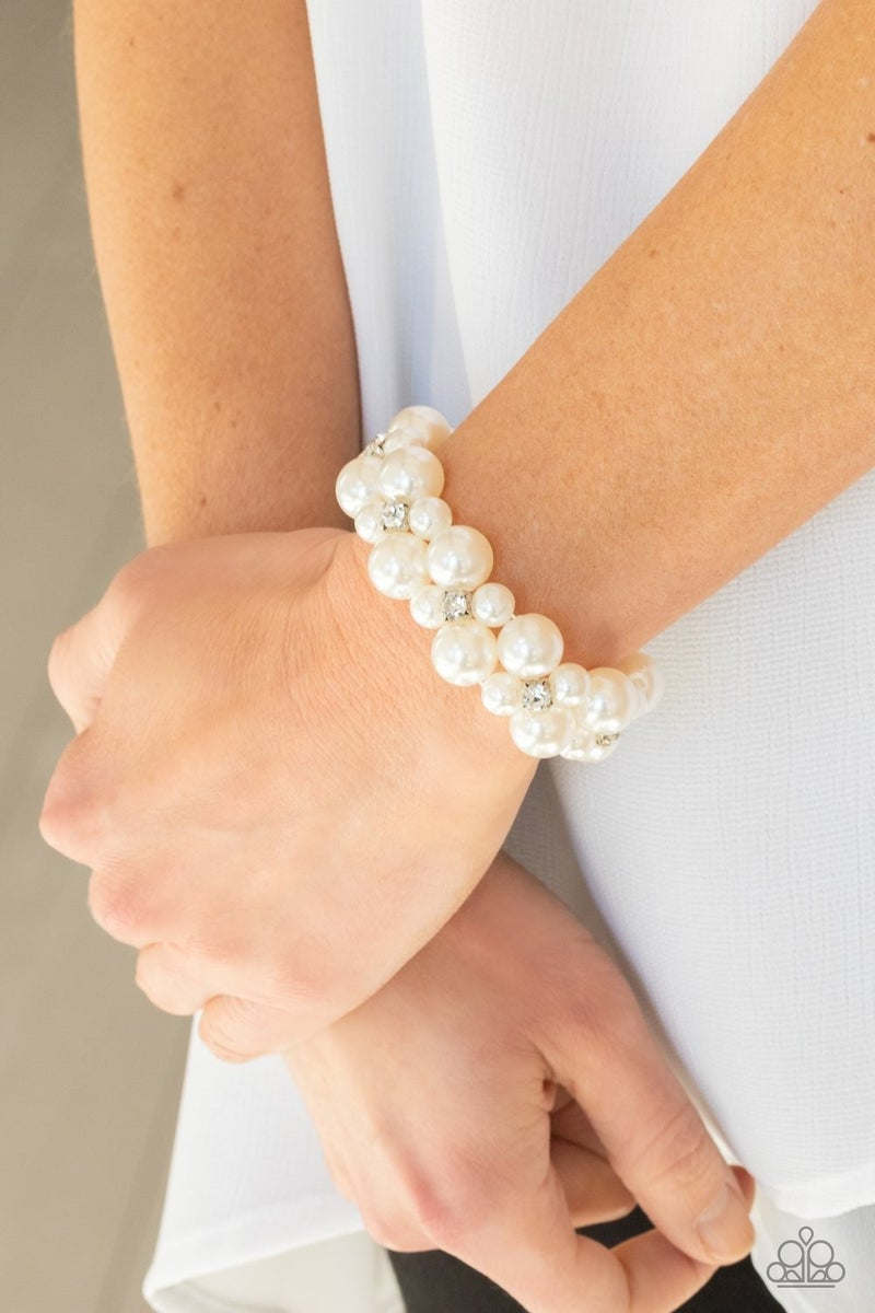 Flirt Alert - White Stretchy Bracelet