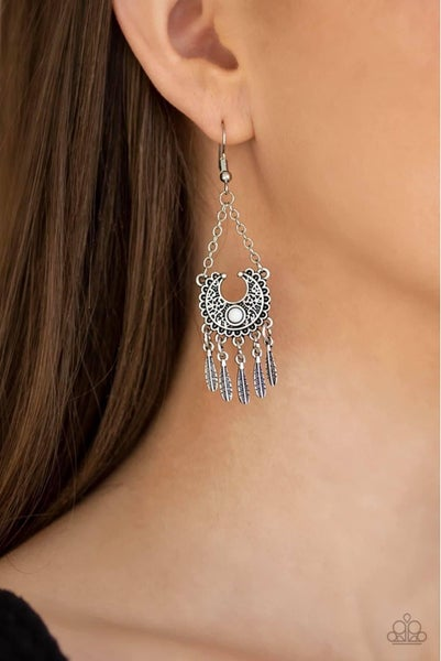 Fabulously Feathered - White Earrings