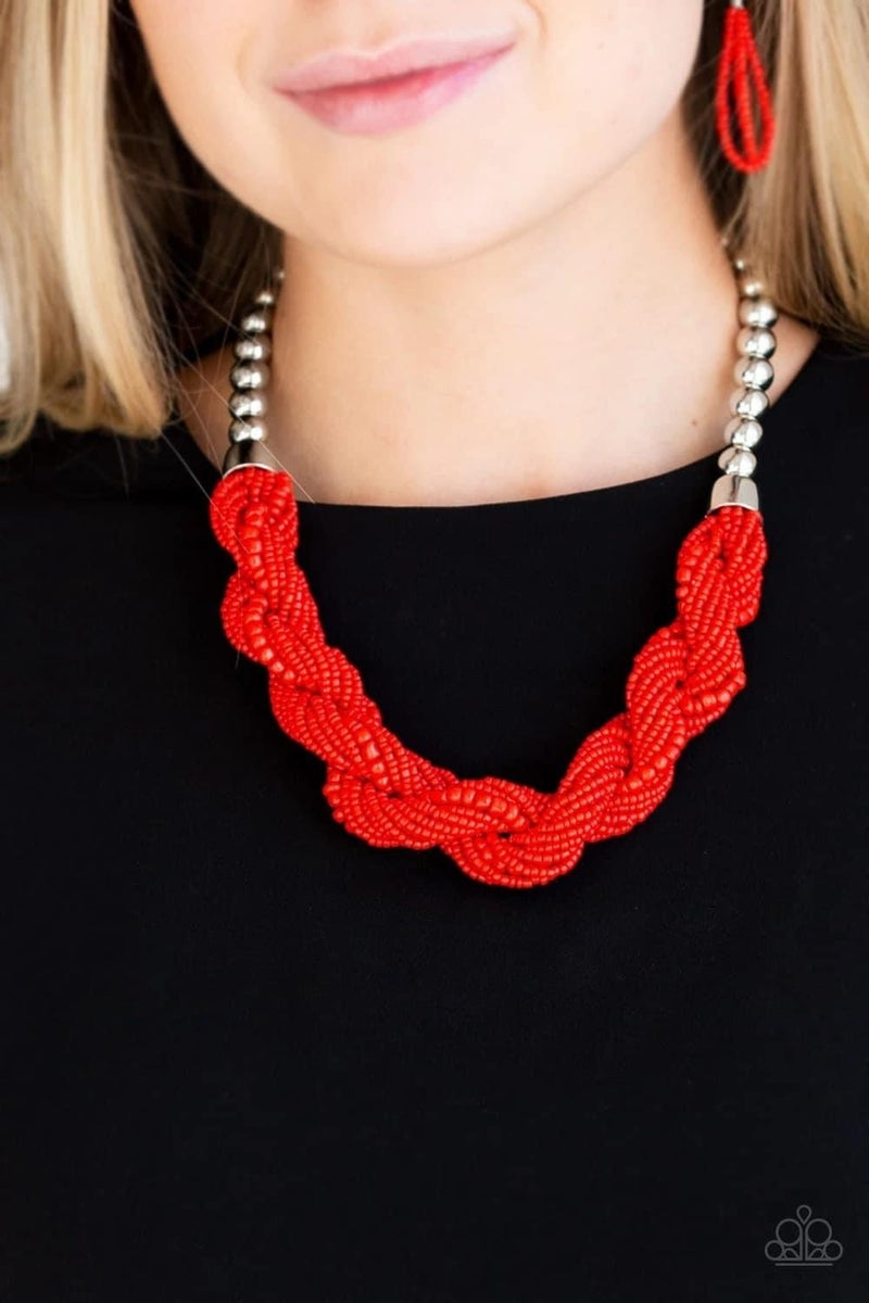 Savannah Surfin - Red Seed Bead Necklace