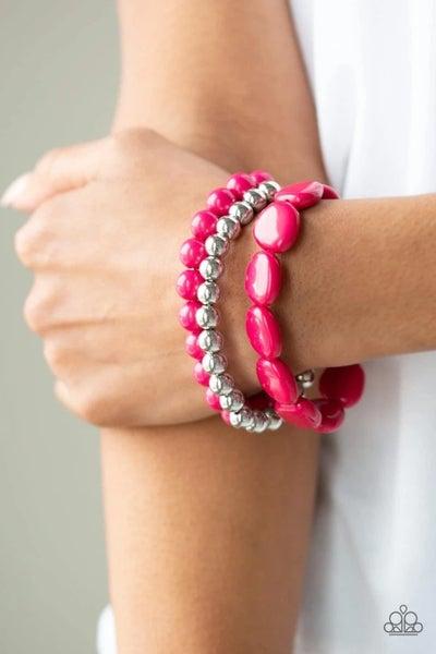 Color Venture - Pink Stretchy Bracelet