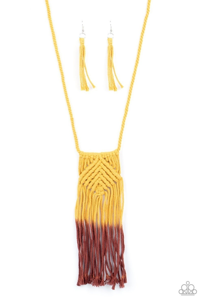 Look At MACRAME Now - Yellow Necklace
