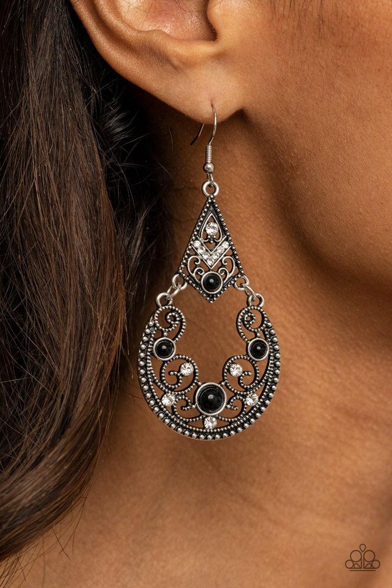 Bohemian Ball - Black Earrings
