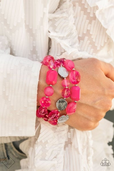 Oceanside Bliss - Pink Stretchy Bracelet - August 2021 Fashion Fix