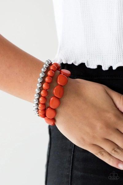Color Venture - Orange Stretchy Bracelet