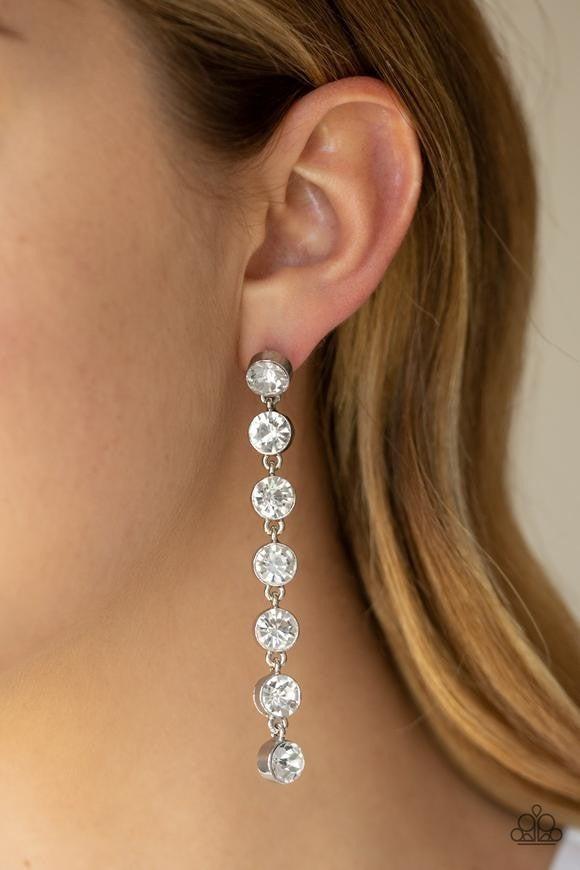 Dazzling Debonair - White Earrings