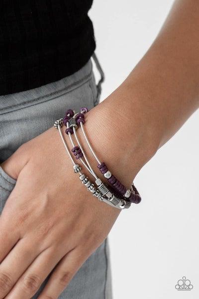 Tribal Spunk - Purple Stretchy Bracelet