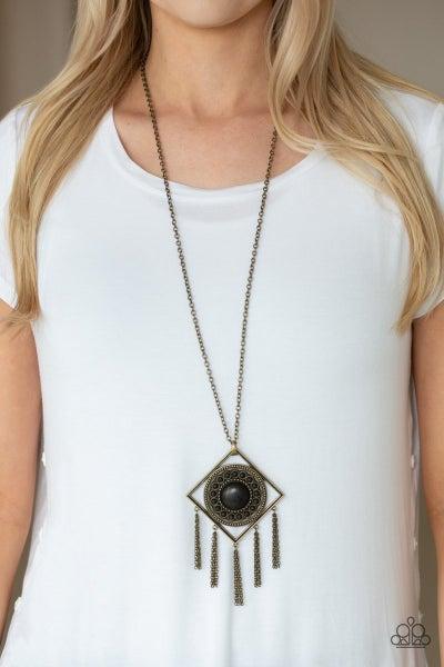 Sandstone Solstice - Brass Necklace