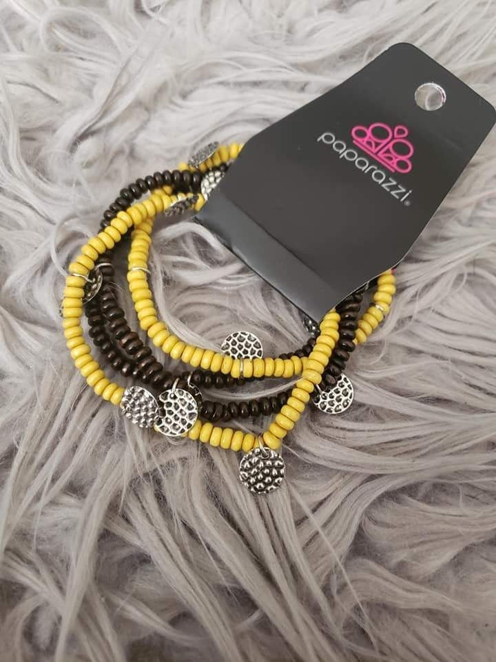 WOODn't Count It - Yellow Stretchy Bracelet