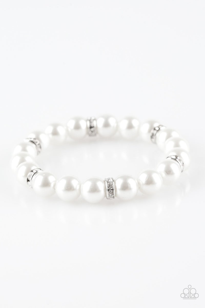 Exquisitely Elite - White Stretchy Bracelet