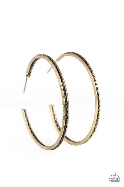 Texture Tempo - Brass Hoop Earrings