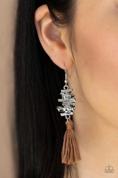 Tiki Tassel - Brown Earrings