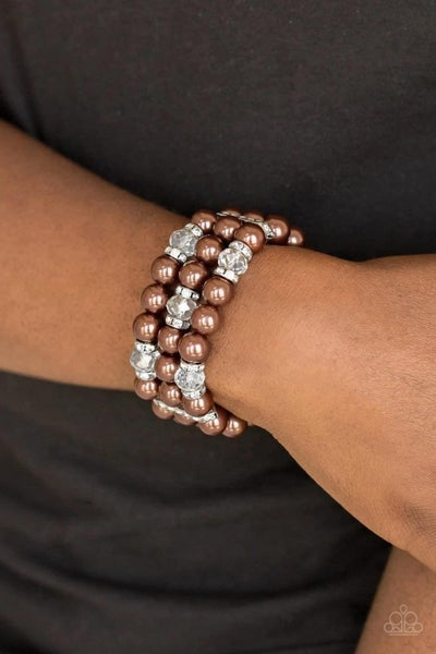 Undeniably Dapper - Brown Stretchy Bracelet