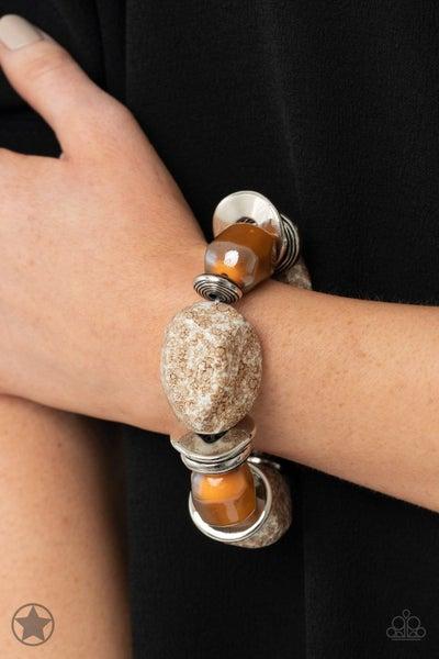 Glaze of Glory - Brown Stretchy Bracelet