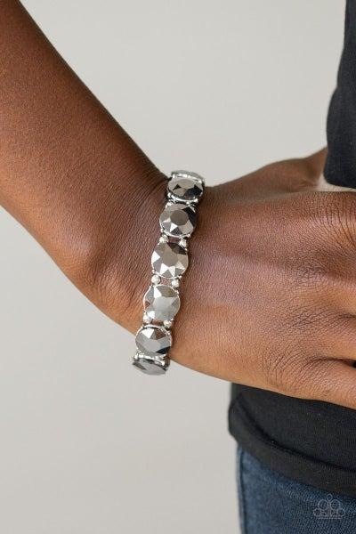 Glitzy Glamorous - Silver Stretchy Bracelet