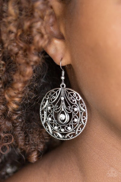 Choose To Sparkle-White Earrings