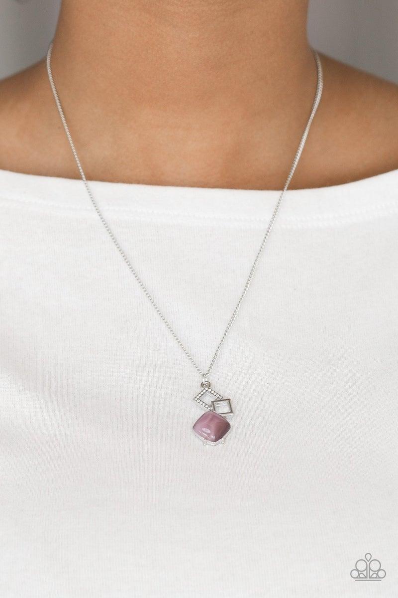 Stylishly Square- Purple Necklace