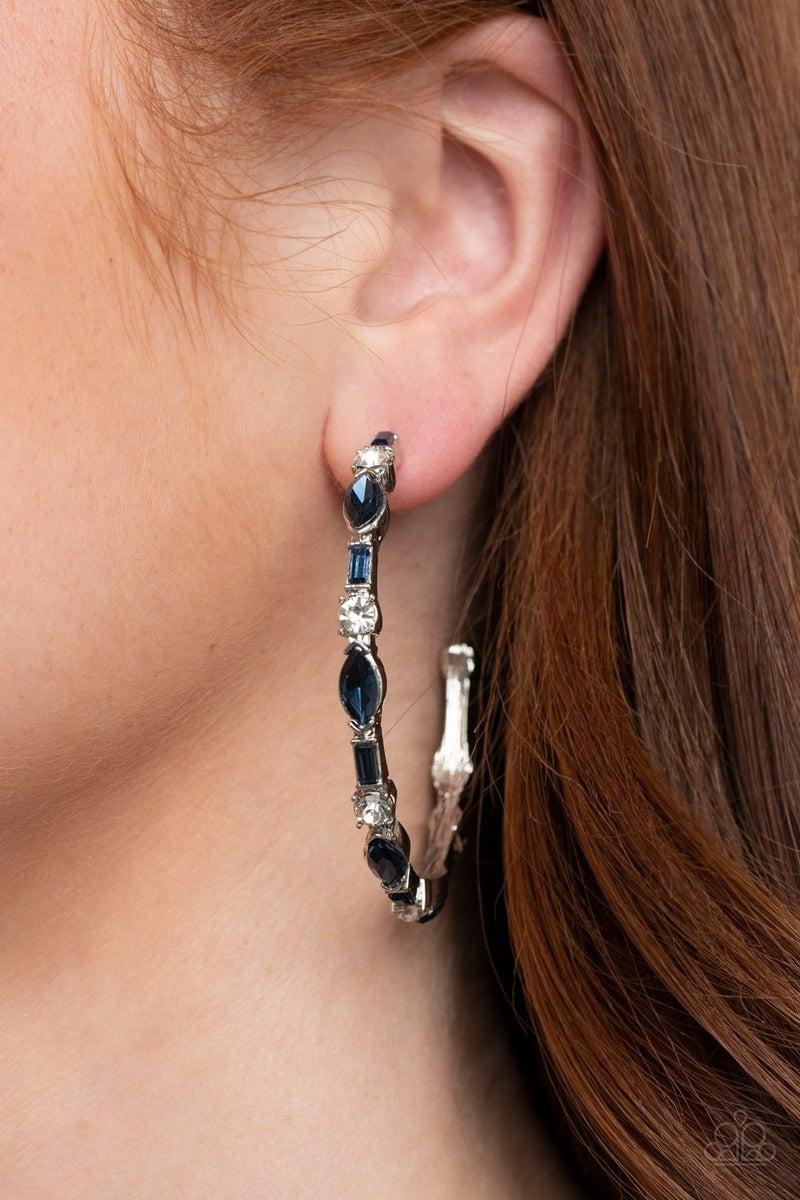 There Goes the Neighborhood - Blue Hoop Earrings