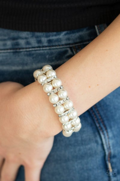 Glowing Glam - White Clasp Bracelet