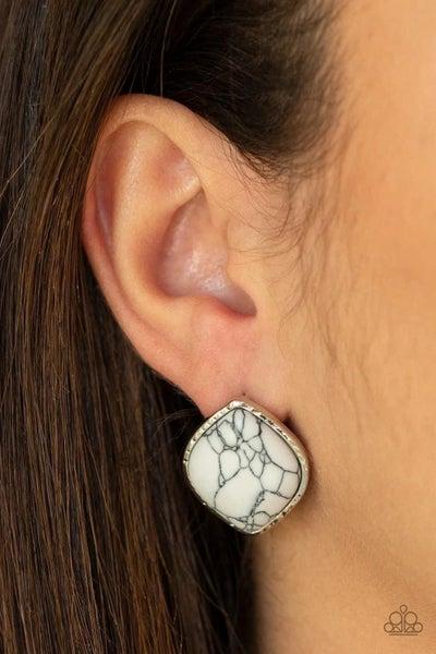 Marble Marvel - White Earrings