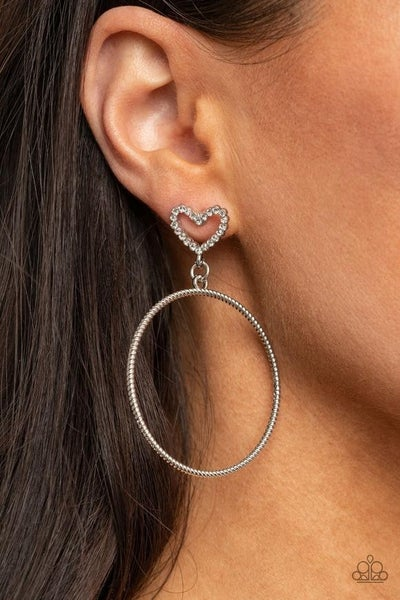 Love Your Curves - White Earrings