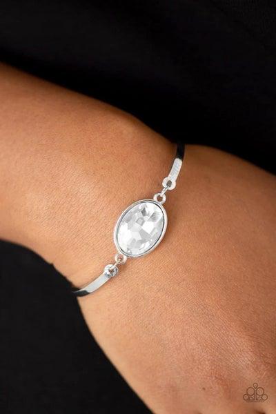 Definitely Dashing - White Clasp Bracelet