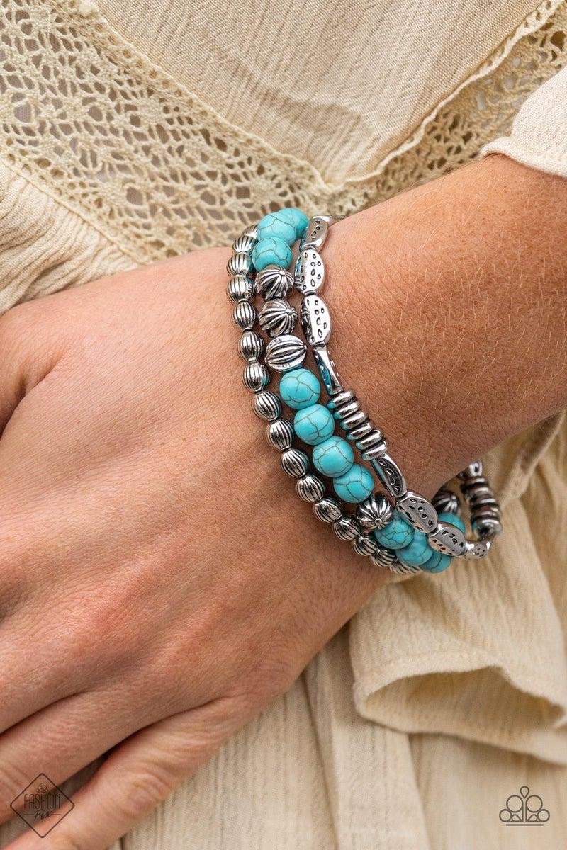 Trail Mix Mecca - Blue Stretchy Bracelet - February 2021 Fashion Fix
