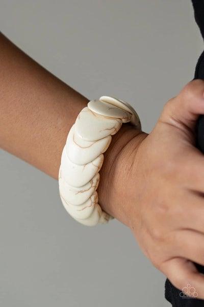 Nomadic Nature - White Stretchy Bracelet