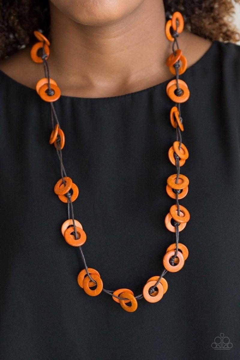 Waikiki Winds - Orange Wooden Necklace