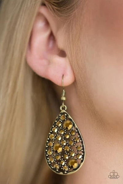 GLOW With The Flow - Brass Earrings