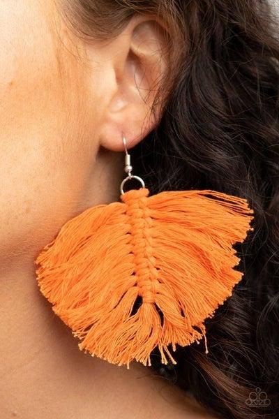 Macrame Mamba - Orange Earrings