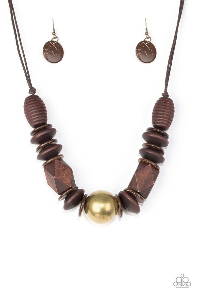 Grand Turks Getaway - Brass Wooden Necklace