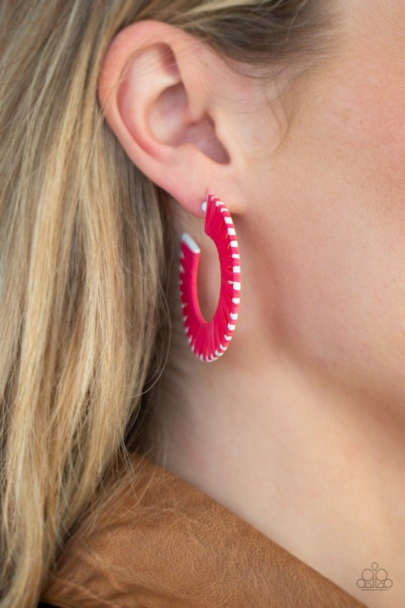 Everybody Conga! - Pink Hoop Earrings