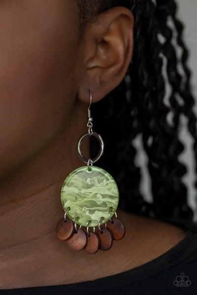 Beach Waves - Green Earrings