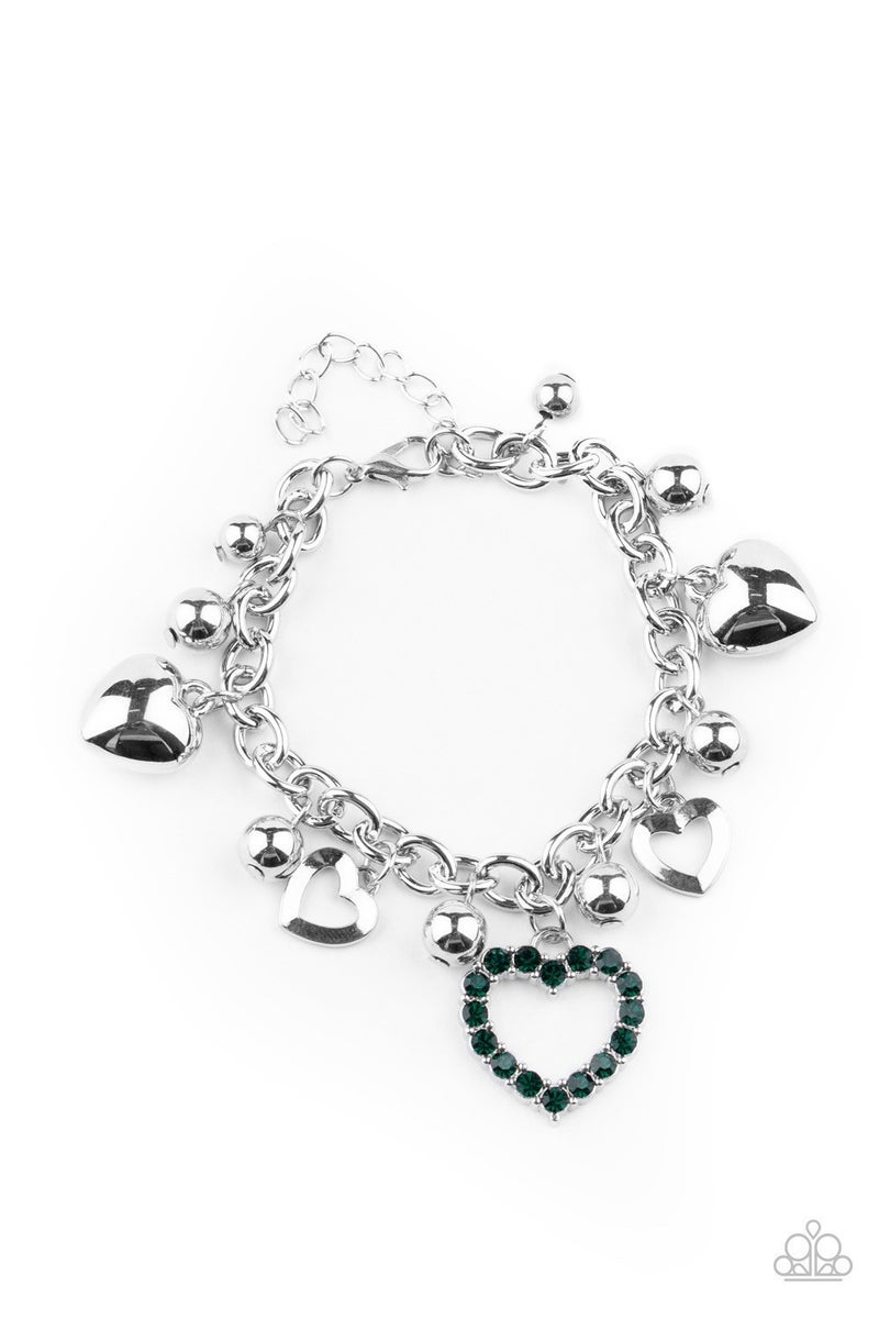 Beautifully Big-Hearted - Green Clasp Bracelet