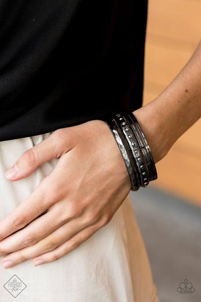 Revved Up Rhinestones - Gunmetal Bangles - July 2020 Fashion Fix