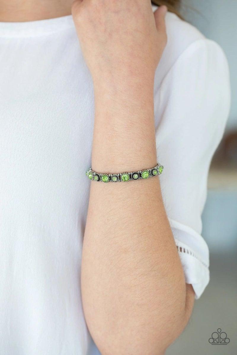 Heavy on the Sparkle - Green Stretchy Bracelet