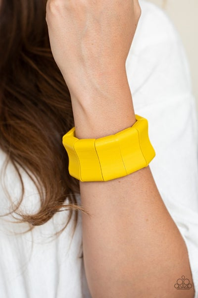 Caribbean Couture - Yellow Stretchy Bracelet