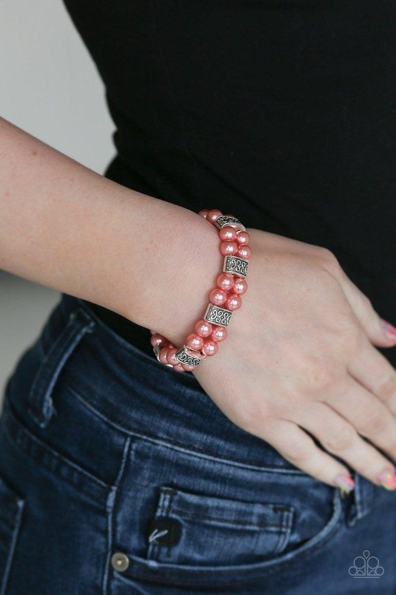Time After Timeless - Orange Stretchy Bracelet