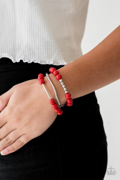 New Adventures - Red Stretchy Bracelet