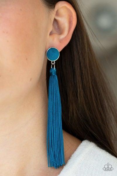 Tightrope Tassel - Blue Earrings