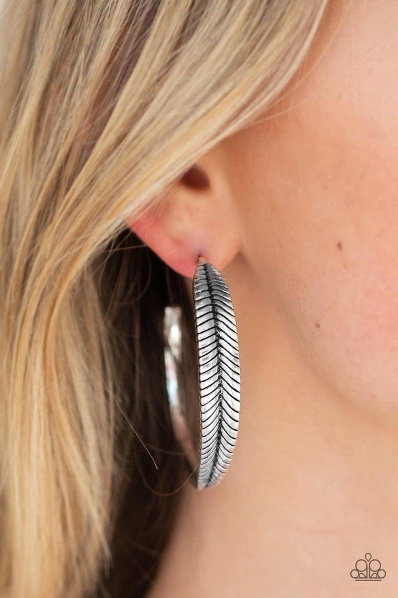 Funky Feathers- Silver Hoop Earrings