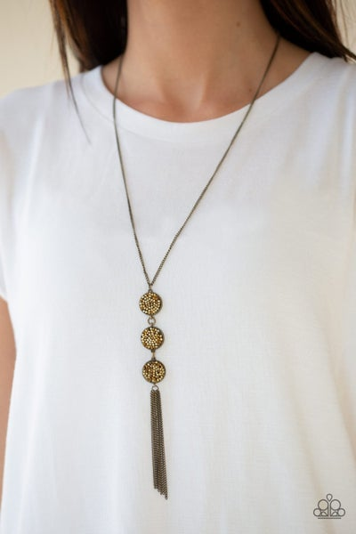 Triple Shimmer - Brass Necklace