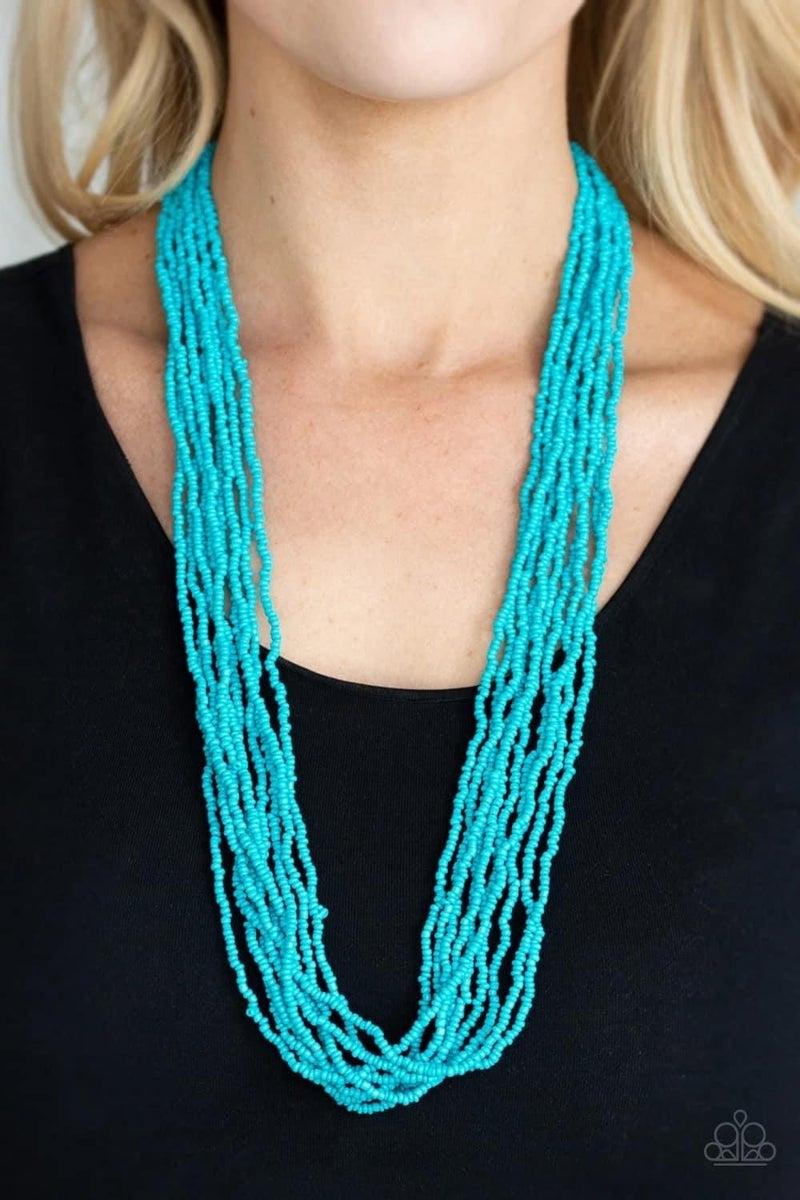 Congo Colada - Blue Seed Bead Necklace