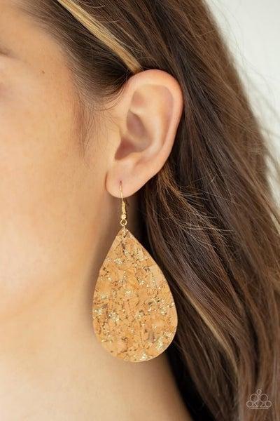 Cork It Over - Gold Earrings