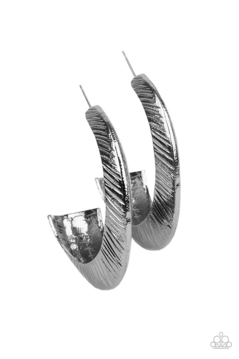 I Double FLARE You - Gunmetal Hoop Earrings